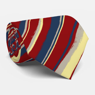 Painterly Striped Red, Navy & Yellow Two-Sided Tie