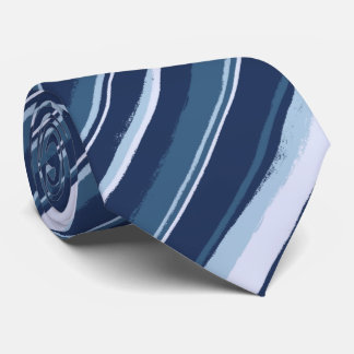 Painterly Striped Tonal Blues Two-Sided Tie