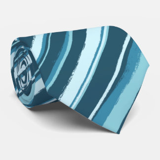 Painterly Striped Tonal Teals Multi Two-Sided Tie