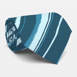 Painterly Striped Tonal Teals Two-Sided Tie