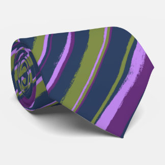 Painterly Striped Violet, Olive & Navy Two-Sided Tie