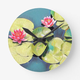 Painterly water lilies round clock
