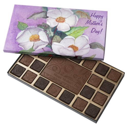 Painterly White Southern Magnolias on Lavender 45 Piece Box Of Chocolates