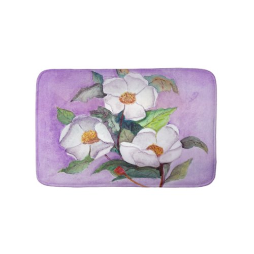 Painterly White Southern Magnolias on Lavender Bath Mat
