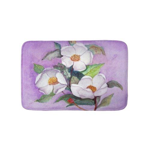 Painterly White Southern Magnolias on Lavender Bath Mat
