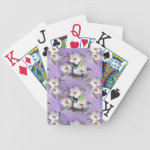 Painterly White Southern Magnolias on Lavender Bicycle Playing Cards