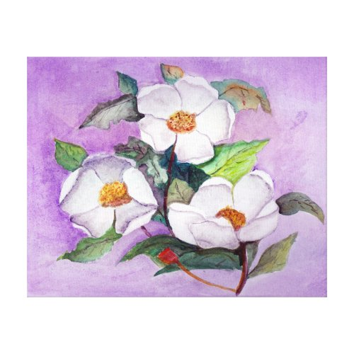 Painterly White Southern Magnolias on Lavender Canvas Print