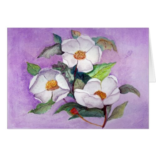 Painterly White Southern Magnolias on Lavender Card