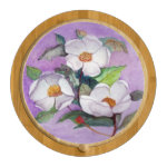 Painterly White Southern Magnolias on Lavender Cheese Platter