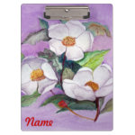 Painterly White Southern Magnolias on Lavender Clipboard