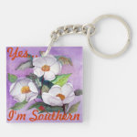 Painterly White Southern Magnolias on Lavender Double-Sided Square Acrylic Keychain