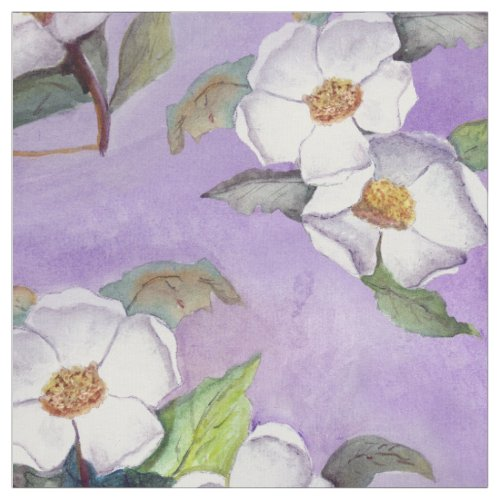 Painterly White Southern Magnolias on Lavender Fabric