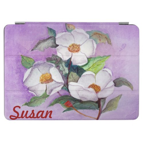 Painterly White Southern Magnolias on Lavender iPad Air Cover