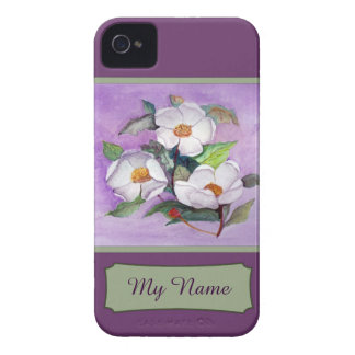 Painterly White Southern Magnolias on Lavender iPhone 4 Cover