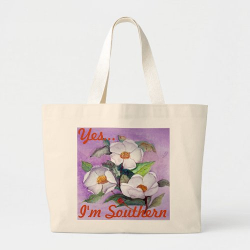 Painterly White Southern Magnolias on Lavender Large Tote Bag