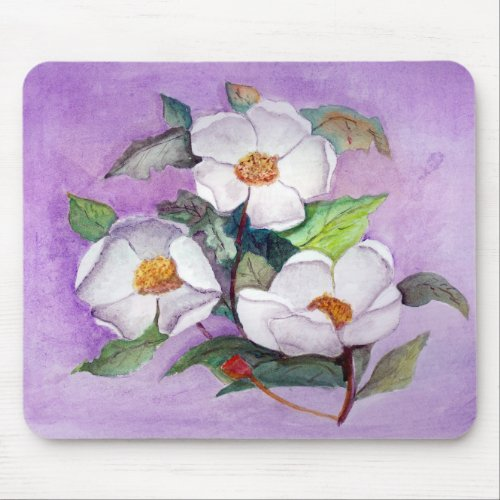Painterly White Southern Magnolias on Lavender Mouse Pad