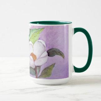 Painterly White Southern Magnolias on Lavender Mug