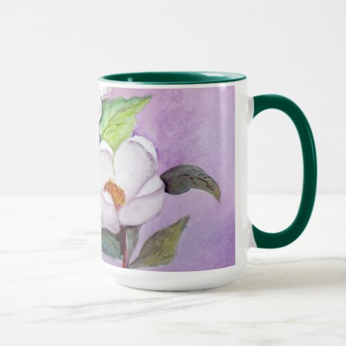 Painterly White Southern Magnolias on Lavender Mug