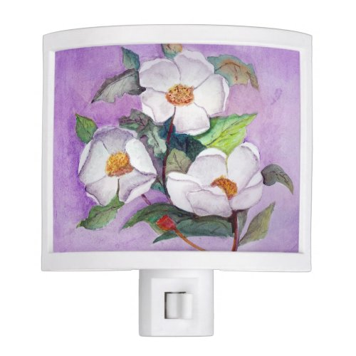 Painterly White Southern Magnolias on Lavender Night Light