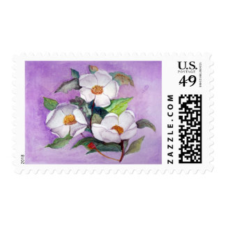 Painterly White Southern Magnolias on Lavender Postage Stamp