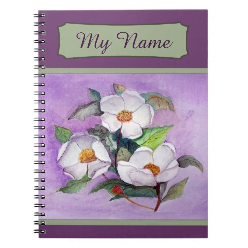 Painterly White Southern Magnolias on Lavender Spiral Notebook