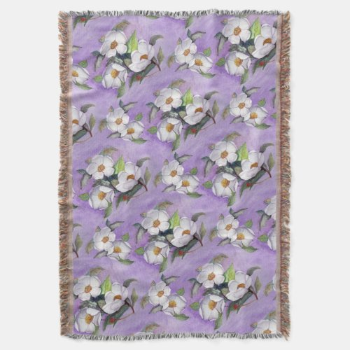 Painterly White Southern Magnolias on Lavender Throw Blanket