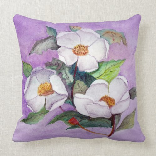 Painterly White Southern Magnolias on Lavender Throw Pillow