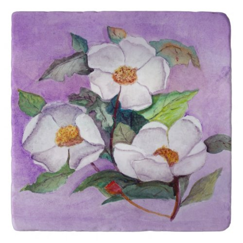 Painterly White Southern Magnolias on Lavender Trivet