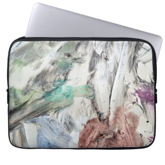 Painter's case, colourful oil paint smears computer sleeve