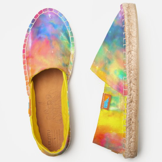[Painter's Cloth] Distressed Rainbow Tie-Dye Espadrilles