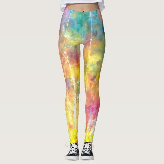 [Painter's Cloth]  Distressed Rainbow Tie-Dye Leggings