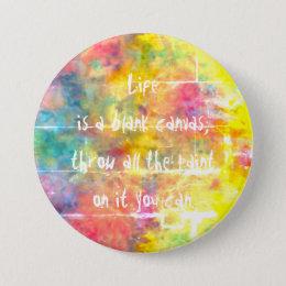 [Painter's Cloth]  Distressed Rainbow Tie-Dye Pinback Button