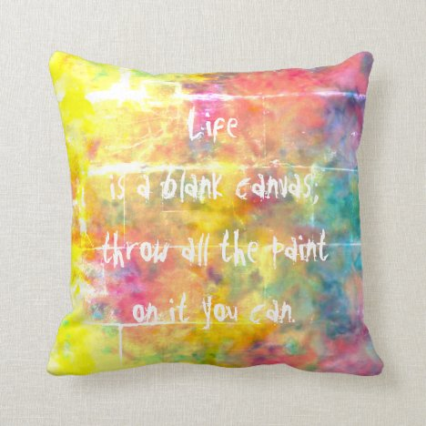 [Painter's Cloth] Rainbow Tie-Dye Accent Throw Pillow