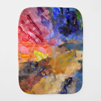 painter's colorful  artist palette baby burp cloth