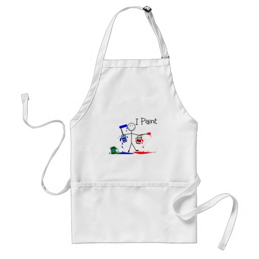 """Painters Gifts  """"I Paint"""" Stick People Design Adult Apron"""