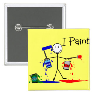 """Painters Gifts  """"I Paint"""" Stick People Design Button"""