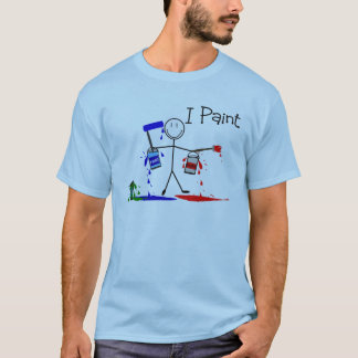 """Painters Gifts  """"I Paint"""" Stick People Design T-Shirt"""