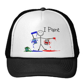 """Painters Gifts  """"I Paint"""" Stick People Design Trucker Hat"""