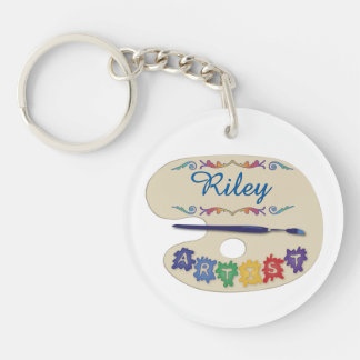 Painters Palette Custom Name Double-Sided Round Acrylic Keychain