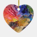 Painter's Palette of Colorful Paints Christmas Ornament