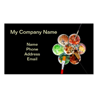 Painter's palette with multiple colors and brushes business cards