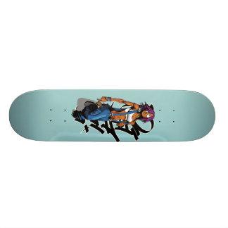 Paintgurl black graf lightblue skateboard deck