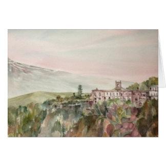 Painti Sicilia Italia con el monte Etna Tarjeta De Felicitación
