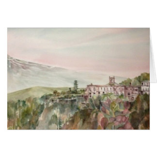 Painti Sicily Italy with Mount Etna Greeting Card