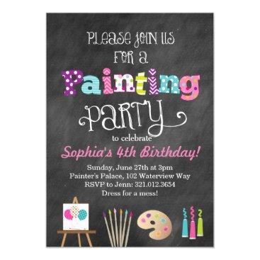 modernmaryella Painting Art Party Chalkboard Style Invitation