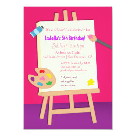 Painting Arts Kids Birthday Party 4.5x6.25 Paper Invitation Card