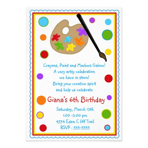 Painting birthday party invitations 5quot x 7quot invitation card zazzle for Paint party invitations free