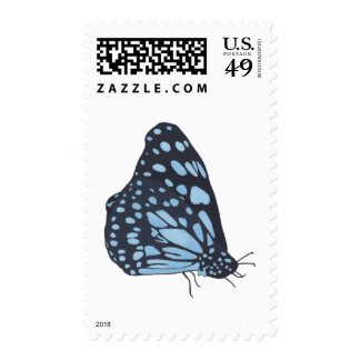 Painting Black Butterfly Blue Spots Postage Stamps