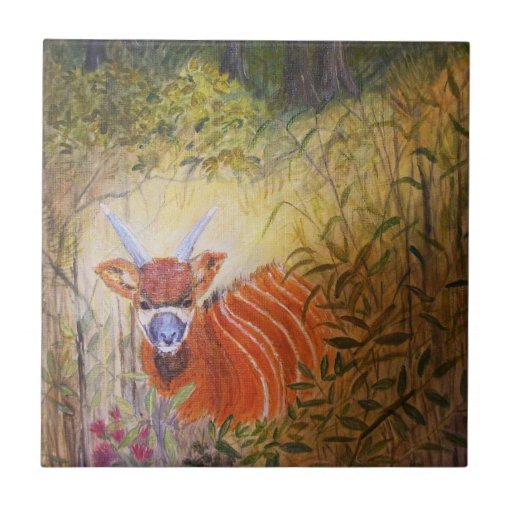 Painting Bongo Antelope Small Square Tile