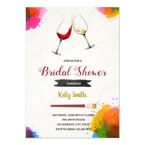 Painting bridal shower party invitation